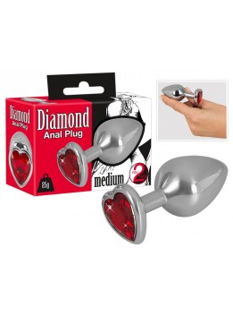 Plug Anal Diamond Coeur Rouge - Medium